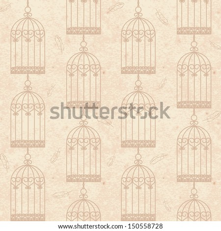 Old vintage grunge paper seamless background with birdcages and feathers  - stock vector