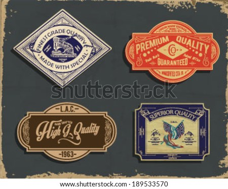 Old vintage labels - stock vector