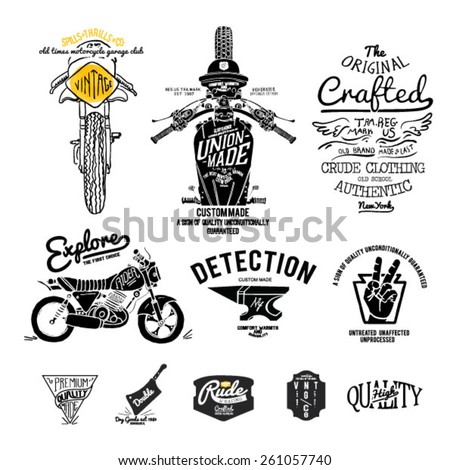 old vintage motor label motor set - stock vector