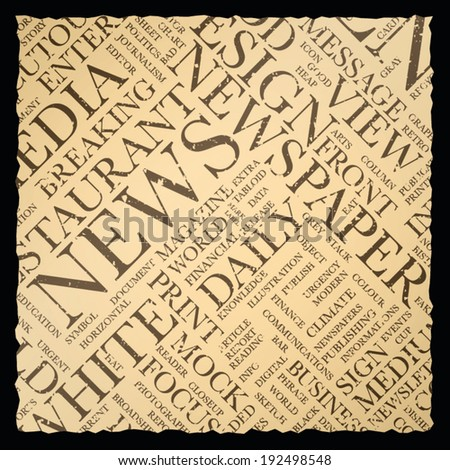 Old vintage newspaper vector background texture word cloud - stock vector