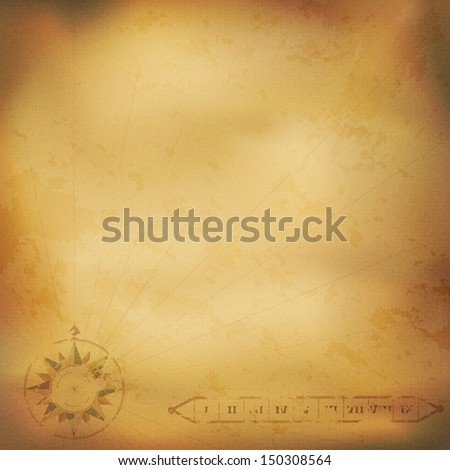 Old vintage paper with wind rose compass. Highly detailed vector. Illustration contains gradient mesh - stock vector