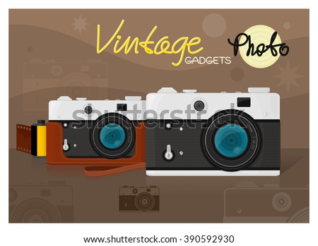 Old vintage photo camera vector illustration and hand lettering - stock vector