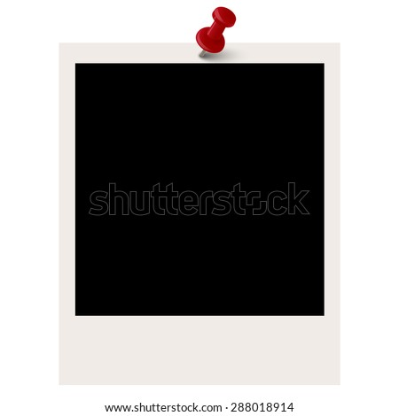 old vintage photo with colored pin needle - stock vector