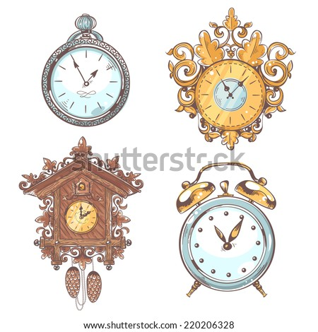 Old vintage retro clock and stopwatch colored sketch set isolated vector illustration - stock vector