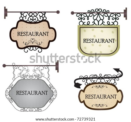 Old vintage signboard.  Vector set - stock vector