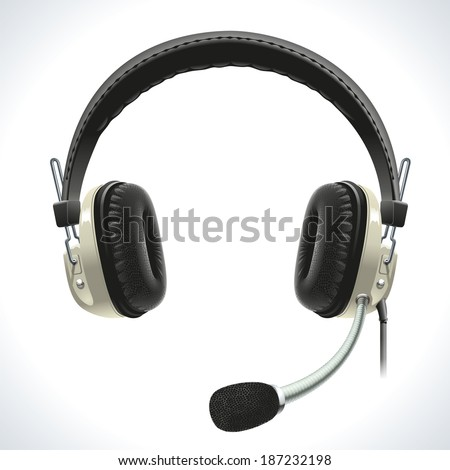 Old vintage stereo headset with microphone for hands-free communication. - stock vector
