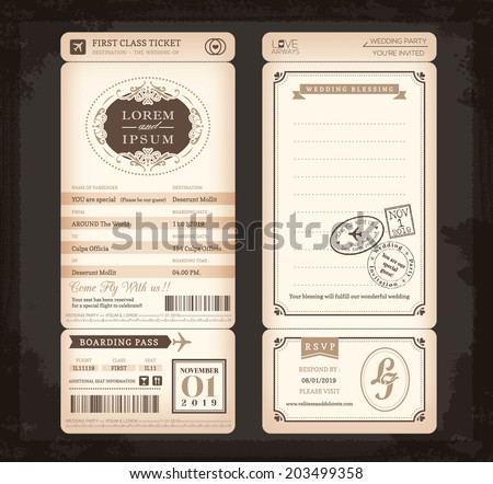 Old Vintage style Boarding Pass Ticket Wedding card background - stock vector