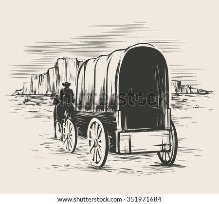 Old wagon in wild west prairies. Pioneer on horse transportation cart, vector illustration - stock vector