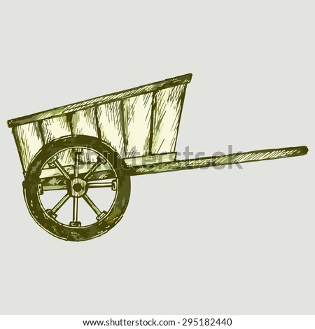 Old wagon. Vector Image - stock vector