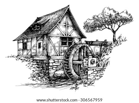 Old Water Mill Sketch Stock Vector 306567959 - Shutterstock