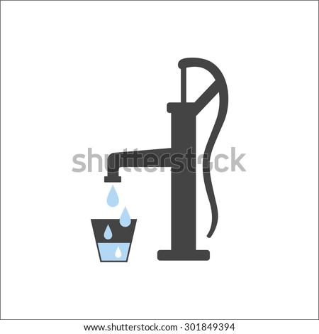 Old water pump - stock vector
