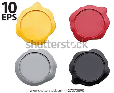 Old wax stamp, isolated colorful set. Vector illustration - stock vector