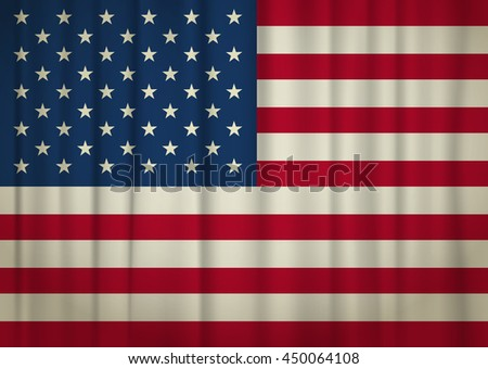 Old weathered USA flag. vector illustration - stock vector