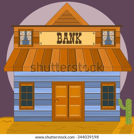 Old west building - bank office - stock vector
