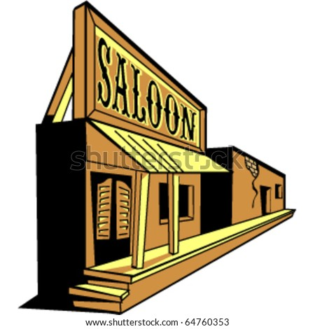 Old western saloon, tavern or bar on a main street in a ghost town. - stock vector