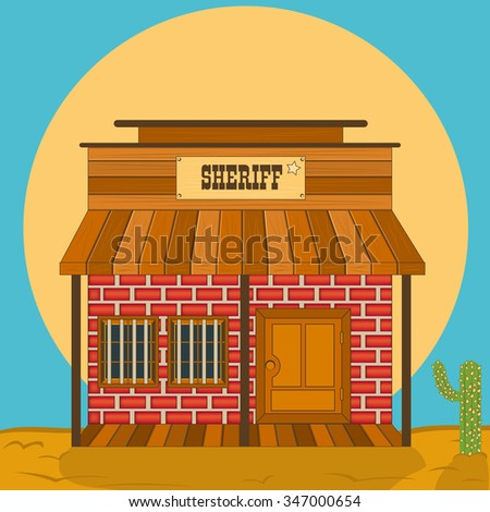 old western sheriff office vector illustration - stock vector