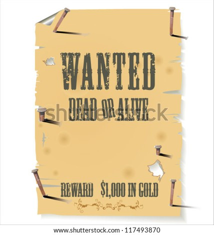 Old western wanted sign - stock vector