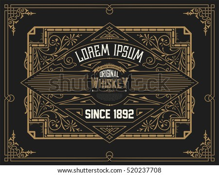 Old Whiskey label with vintage frame