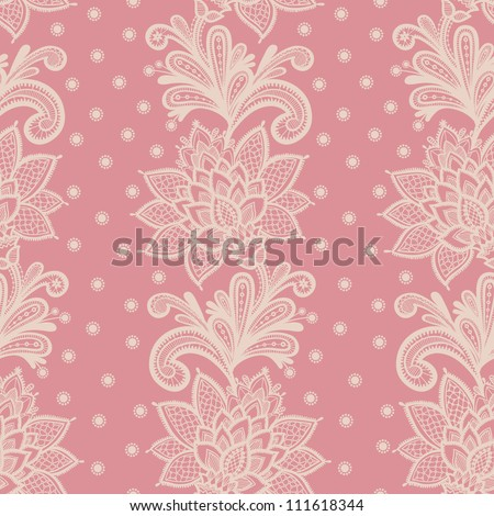 old white elegant doily on lace pink background. - stock vector