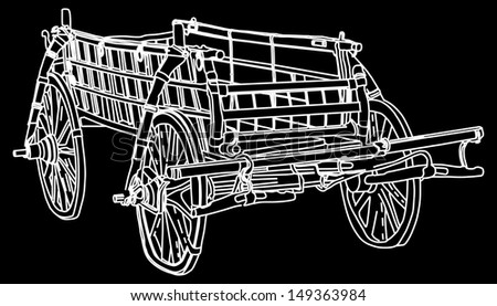 old white fairy tale carriage isolated on black background vector - stock vector