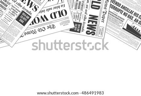 Old White Newspaper Vintage Design Copy Stock Vector 486491983