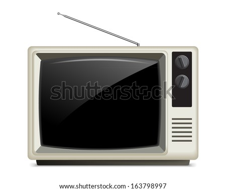 Old White Retro Style TV, Isolated on White/Retro TV