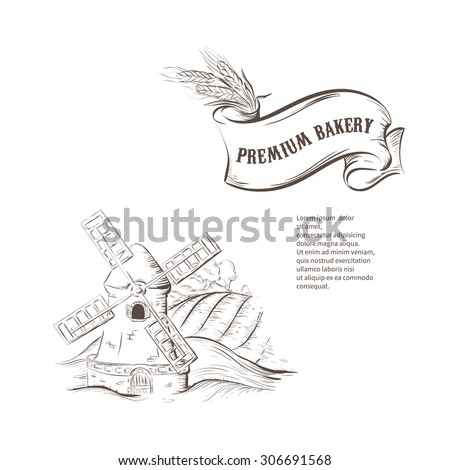 Old windmill, handdrawn sketch vector illustration isolated on white background. Design for bakery label in vintage style. - stock vector