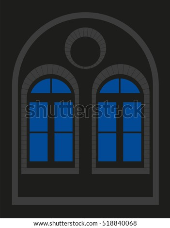 Old window - double window - silhouette - vector graphic