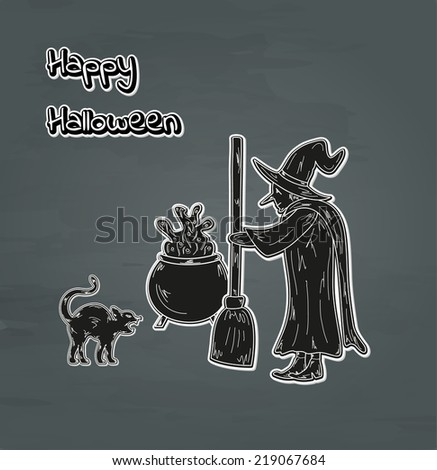 old witch, cat and cauldron happy halloween card, vector - stock vector