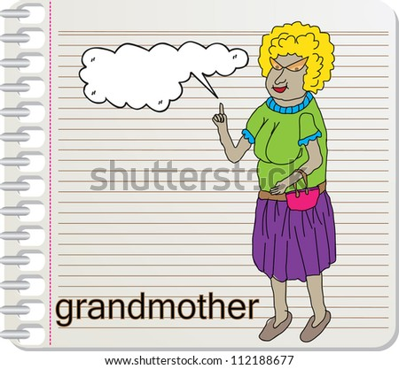 old woman and bubble speech with on paper