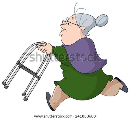 Old woman running with her walker - stock vector