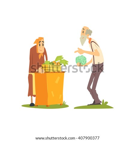 Old Woman Selling Vegetables Flat Isolated Vector Image In Simple Childish Style On White Background