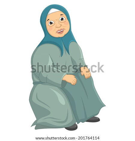 Old Woman Siting Vector Illustration - stock vector