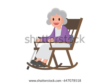 Old woman sitting on rocking chair. Granny relax in her rocking chair ...