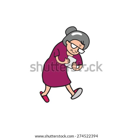Old woman walking and text on mobile phone - stock vector