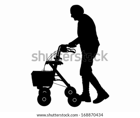 Old woman with walking frame - stock vector