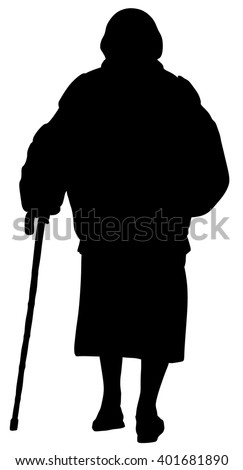 Old women walking with stick. Vector character isolated on white background. - stock vector