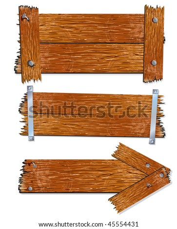 Old wooden Board, Sign and Plank, realistic vector illustration. - stock vector