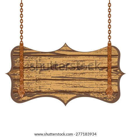 Old wooden board with rusty chain. Vector illustration