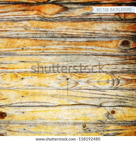 Old wooden fence. Vector background - stock vector