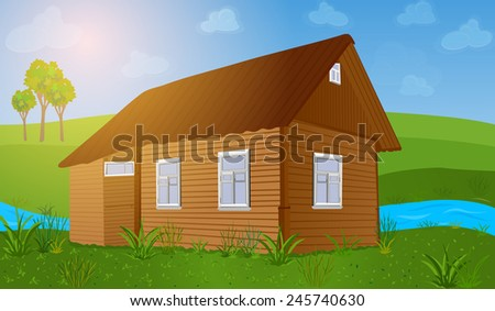 Old wooden house at summer field. EPS 10 format. - stock vector