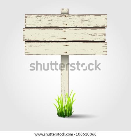 Old wooden signboard. Vector eps10 - stock vector