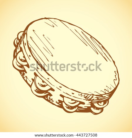 Old wooden slap tambourine isolated on white backdrop. Outline freehand ink hand drawn picture sketchy in art vintage scribble style pen on paper. View closeup with space for text - stock vector