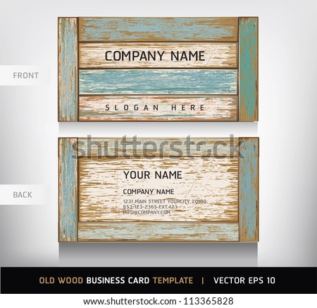 Old Wooden Texture Business Card Background. vector illustration. - stock vector