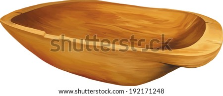 old wooden trough isolated on white - stock vector