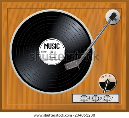 Old wooden turntable. Vintage gramophone player with black musical vinyl long play record with white label. 33 rpm lp, vector art image illustration, retro music technology concept, top view, eps10 - stock vector
