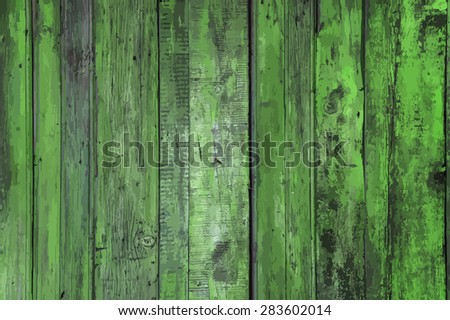 old wooden wall, green background, vector - stock vector