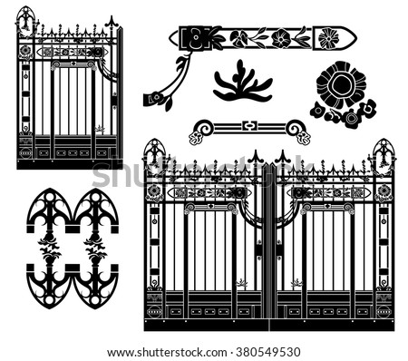 Old wrought iron gate with floral decorations. Various isolated elements.
