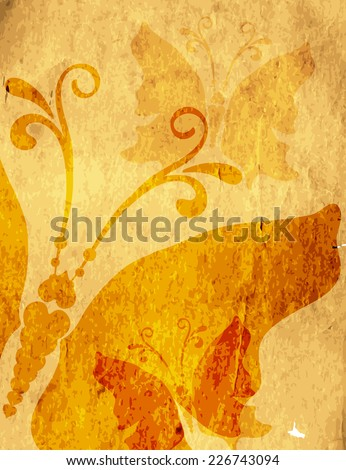 Old yellow spotty paper with butterflies (vector eps 10) - stock vector