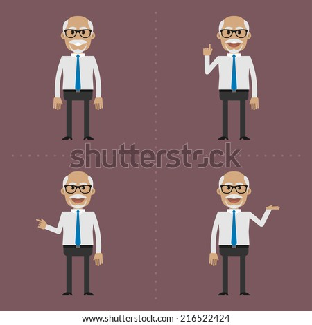 Older man shows and tells - stock vector